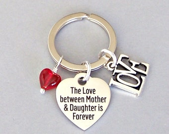 Mother and daughter keyring, gift for mom, gift for daughter, love and heart keychain for birthday,  inspirational forever, family bonds