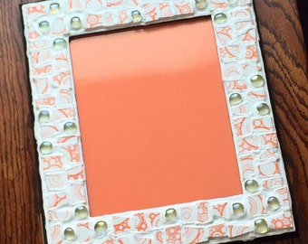 Orange and White Mosaic Picture Frame (holds a 8 x 10 photograph)