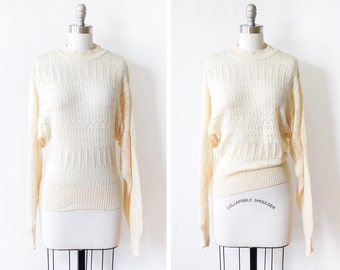 80s eyelet sweater, vintage cream pointelle sweater, 1970s pullover knit dolman sleeve, xs/small
