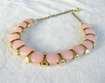 Pink Choker, Vintage Pink and Gold Tone Necklace