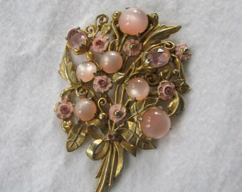 Pink and Gold Fur Clip, Vintage Pink Moonstone Pin