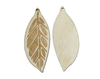 2 wood leaf pendants, unfinished and natural 44 x 17mm