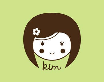 Custom Stamp - Custom Rubber Stamp - Personalized Stamp - Gifts for her - Doll, Girl - Kim - C319