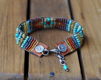 xX RESERVED Xx Sterling Silver Turquoise Bracelet, Leather Beaded Bracelet, Silver Bead Woven Cuff Bracelet