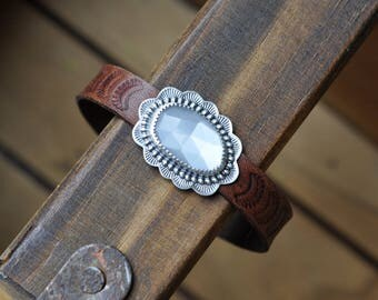 Sterling Silver Moonstone Bracelet, Leather Cuff Bracelet, Oxidised Silver Button Leather Wrap Bracelet
