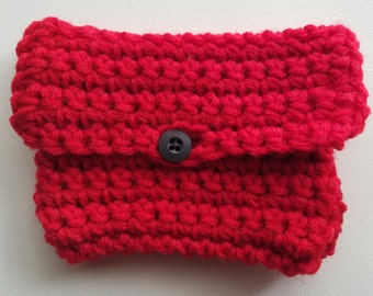 Crochet Coin Purse Gift Card Holder Red with Black Button