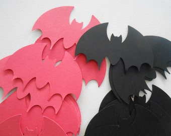 Vampire Bat Paper Punch Black and Red set of 30 Gothic Party Favors
