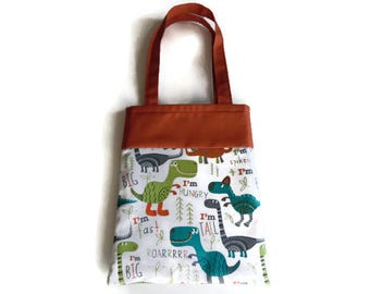 Small Dinosaur Gift Bag - Goodie Bag - Mini Tote