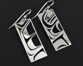 Abstract Native American First Nations Sterling Bentwood Box Dangle Earrings