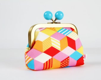 Metal frame coin purse with color bobble - Little cubes - Color dad / Japanese fabric / pink yellow turquoise orange red