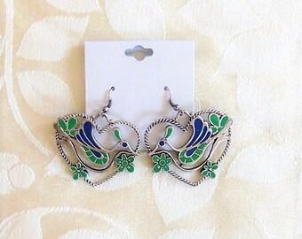 Cute Silvertone Heart Bird Dangle Earrings