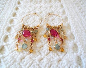 Multi Color Gold Tone Chandelier Hoop Earrings