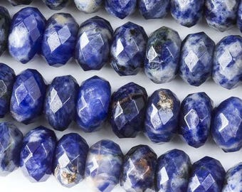 Faceted Large Hole Sodalite 6x10mm Rondelle with a 2.5mm Drilled Hole