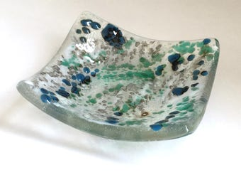 Blue Green Fused Glass Trinket Dish - Ring Dish - Jewellery Dish - Blue dish - Tea Light Dish - Ring Holder Dish - Votive Holder - ED 588