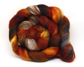 Handpainted BFL Roving - Sleepy Hollow - 4 oz Orange Black