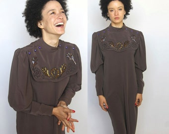 the mystic -- amazing vintage beaded bib collar dress of everyone's dreams size S