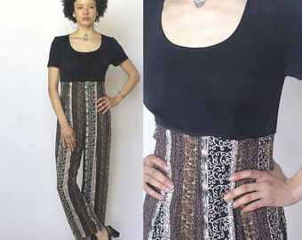 japanese weekend -- vintage 80s black & patterned jumpsuit S