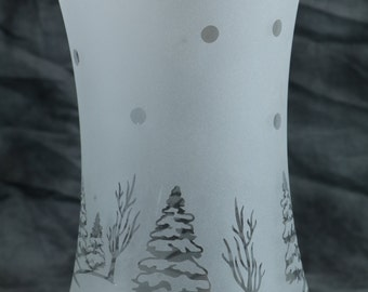 Winter tree scene Hourglass Etched Frosted Candle Holder