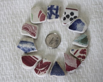 AWESOME BEACHGLASS POTTERY Shards Wonderful design shapes and size 351