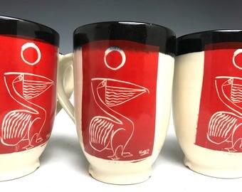Pelican Mug: Coffee Mug, Ceramic Pottery