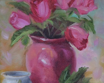 Small Rose Still Life Painting,Red Roses In Maroon Vase,Original Oil Painting by Cheri Wollenberg