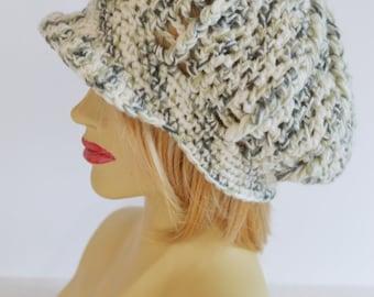 Womens Newsboy Hat,  Baker Boy Hat,  Peaked Hat, Uk Chunky Winter Hat,