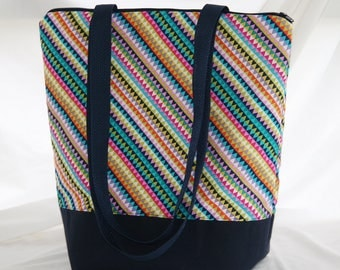 Rainbow Banner Stripe- Insulated Lunch Bag-Tote-Washable-Water and Mildew Resistant Interior -Extra Large-Tall Size