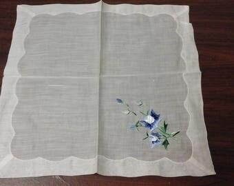 Vintage Sheer Embroidered Blue Flower Hankie