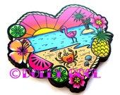 Tropical Beach Scene Brooch by Dolly Cool 40s 50s Reproduction Vintage Style Wooden Novelty Pin