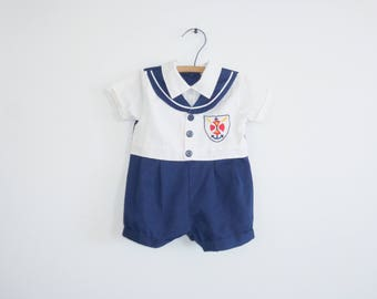 Vintage Nautical Baby Romper