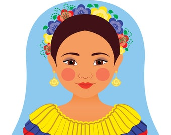 Colombian Wall Art Print features cultural traditional dress drawn in a Russian matryoshka nesting doll shape