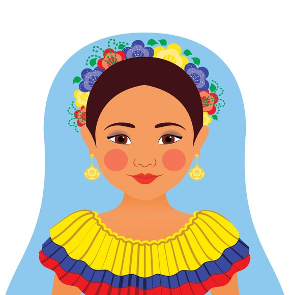 Colombian Doll Art Print with traditional folk dress, matryoshka