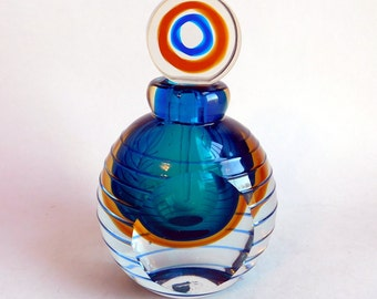Vintage Art Glass Perfume Bottle - Tri-Color Sommerso Glass in Clear, Amber, and Blue-Green - Disc-Shaped Glass Stopper - Hand-Blown Glass