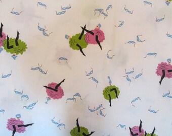 Vintage Fabric Cotton Print 1 yard x 35 inches wide Dancers Drama Wonderful Print