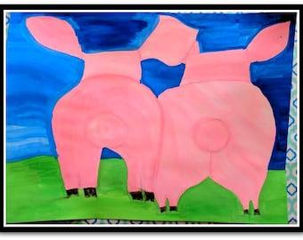 Happy Piggie Friends Folk Art Happy Art Kids Art 9x12 Watercolor on Watercolor Paper Original whimsical Art