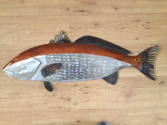 RedFish Metal Sculpture 36in Beach Coastal Art  Tropical