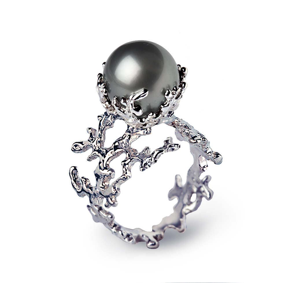 Pearl Wedding Ring: WHITE CORAL Tahitian Pearl Ring Black Pearl Engagement Ring