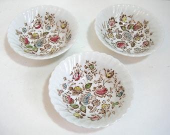 "Johnston Bros. Staffordshire Bouquet Set Of Three, 6"" Dessert Bowls"