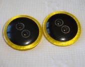 2 Vintage big Bakelite Buttons - Black in Applejuice Bakelite