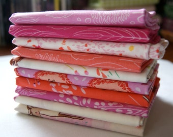 Fat Quarter Bundle RARE Out of Print Wee Wander Sarah Jane Pink Horses Children Kids Girl Quilting