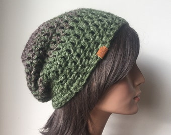 Handmade Hat - Slouchy Hat Winter Accessories Hemp Green Brown ready to ship