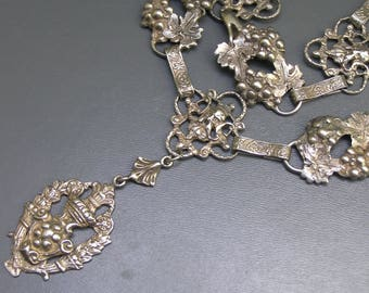 Antique Peruzzi Necklace . Silver . Devils / Grotesque Mask Jewelry