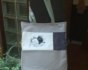 Hand Cross Stitch Cotton Canvas Tote Bag 'A cat peep through..' in mix and match style/ Cat tote bag