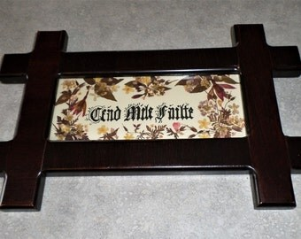Natural Pressed Ireland countryside wildflowers Wild Irish calligraphy Cead Mile Failte  - a hundred thousand Welcomes mahogany frame
