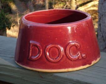 stoneware primitive yellow ware McCoy Pottery DOG DISH maroon burgundy bowl
