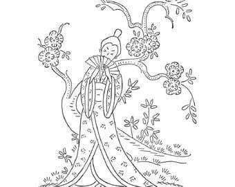 Vintage Asian Hand Embroidery Lovely Geisha girls a Pagoda Bamboo Bonsai Peony & Dragon Ginger jars PDF file emailed 2U