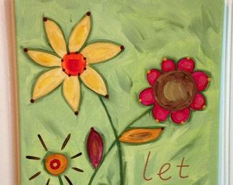 Let Love Grow canvas painting Original primitive folk art Flower design Home decor Wall artwork 11 x 14 Fall Thanksgiving Hand painted