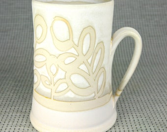 White Flat-Bottom Leaf Mug