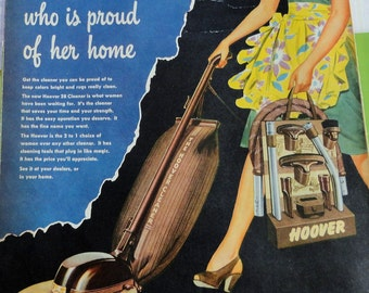 """Mid Century Housewife in Dress and Apron Shows Us How Great a HOOVER Vacuum Is  10 X 13.25"""""""