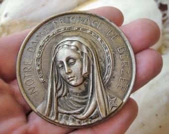 Antique French Madonna platelet, Antique French catholic plaquette, Antique silvr platelet, Antique saint  Icon,  large saint Medal